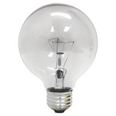 GE Lamps 40G25-120 Quartzline® Decorative Globe G25 Incandescent Lamp; 40 Watt, 120 Volt, 2500K, Medium Screw (E26) Base, 1500 Hour Life, Clear