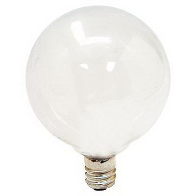 GE Lamps 25GC/W-120 Quartzline® Decorative Globe G16.5 Incandescent Lamp; 25 Watt, 120 Volt, 2500K, Candelabra Screw (E12) Base, 1500 Hour Life, White