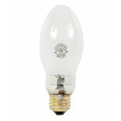 GE Lamps HR100DX38/MED Quartzline® Elliptical ED17 Mercury Vapor Lamp; 100 Watt, 3900K, 50 CRI, Medium Screw (E26) Base, 20000 Hour Life, Deluxe White