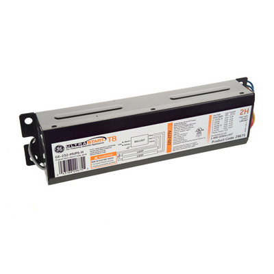 GE Lamps GE-232-MVPS-H 29675 UltraStart Electronic Linear Fluorescent Ballast 120 - 277 Volt 45 Watt At 120 Volt 44 Watt At 277 Volt Input 2-Lamp Programmed Rapid Start
