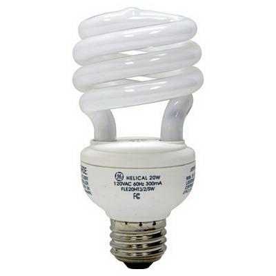 GE Lamps FLE20HT3/2/XL827 Soft White Spiral® Self-Ballasted Spiral T3 Compact Fluorescent Lamp; 20 Watt, 120 Volt, 2700K, 82 CRI, Medium Screw (E26) Base, 12000 Hour Life