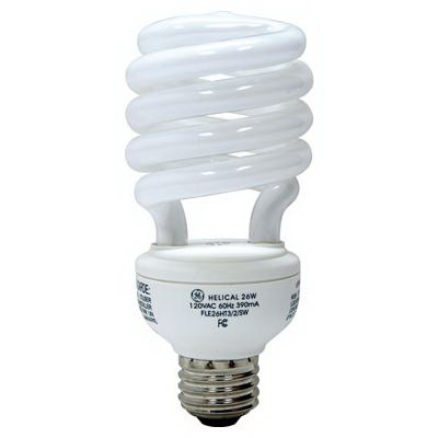 GE Lamps FLE26HT3/2/XL827 Self-Ballasted Spiral T3 Compact Fluorescent Lamp; 26 Watt, 120 Volt, 2700K, 82 CRI, Medium Screw (E26) Base, 12000 Hour Life, Soft White