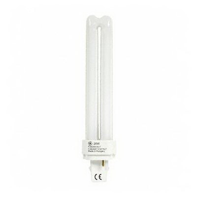 GE Lamps F26DBX/827/ECO Ecolux® Plug-In T4 Compact Fluorescent Lamp; 26 Watt, 105 Volt, 2700K, 82 CRI, G24d-3 Base, 10000 Hour Life