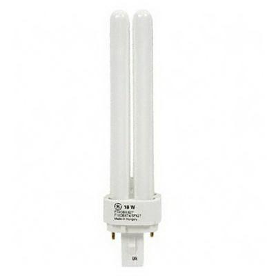 GE Lamps F18DBX/841/ECO Ecolux® Plug-In T4 Compact Fluorescent Lamp; 18 Watt, 100 Volt, 4100K, 82 CRI, G24d-2 Base, 10000 Hour Life