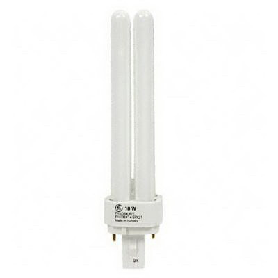GE Lamps F18DBX/835/ECO Ecolux® Plug-In T4 Compact Fluorescent Lamp; 18 Watt, 100 Volt, 3500K, 82 CRI, G24d-2 Base, 10000 Hour Life