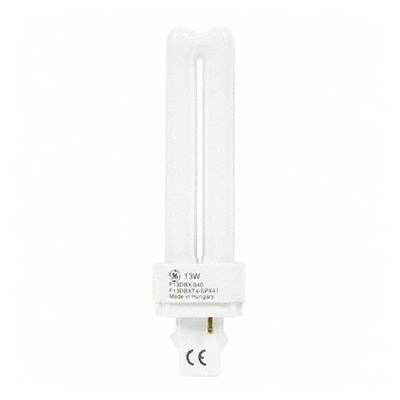 GE Lamps F13DBX/841/ECO Ecolux® Plug-In T4 Compact Fluorescent Lamp; 13 Watt, 91 Volt, 4100K, 82 CRI, G24d-1 Base, 10000 Hour Life