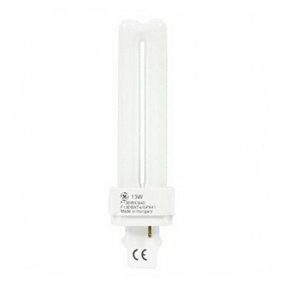 GE Lamps F13DBX/835/ECO Ecolux® Plug-In T4 Compact Fluorescent Lamp; 13 Watt, 91 Volt, 3500K, 82 CRI, G24d-1 Base, 10000 Hour Life