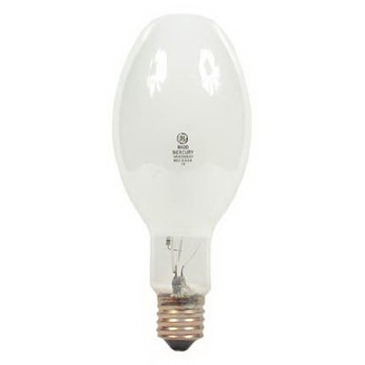 GE Lamps HR400DX33 Quartzline® ED37 Mercury Vapor Lamp; 400 Watt, 318 Volt, 3900K, 50 CRI, Mogul Screw (E39) Base, 20000 Hour Life, Deluxe White