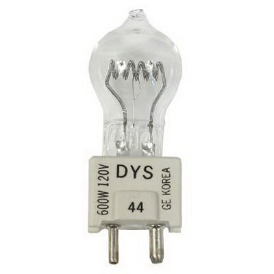 GE Lamps DYS/DYV/BHC-120 Quartzline® Single-Ended G7 Halogen Lamp; 600 Watt, 120 Volt, 3200K, Oriented Medium Bi-Pin (GZ9.5) Base, 75 Hour Life