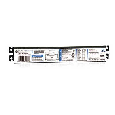 GE Lamps GE-232-MV-L UltraMax® Electronic Linear Fluorescent Ballast; 120 - 277 Volt, 49.5 Watt At 120 Volt, 48.6 Watt At 277 Volt, 2-Lamp, Instant Start