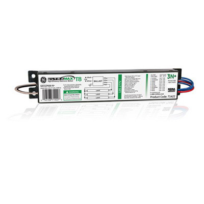 GE Lamps GE332MAX-N+ UltraMax® Electronic Linear Fluorescent Ballast; 120 - 277 Volt, 91 Watt At 120 Volt, 90 Watt At 277 Volt, 3-Lamp, Instant Start