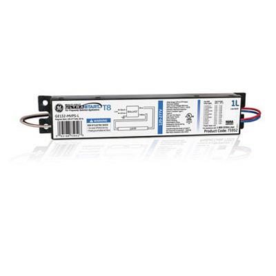GE Lamps GE132-MVPS-L 75952 UltraStart® Electronic Linear Fluorescent Ballast; 120 - 277 Volt, 1-Lamp, Programmed Rapid Start