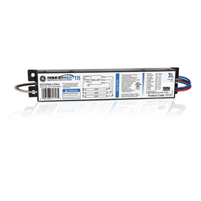 GE Lamps GE332MAX-L/ULTRA UltraMax® Electronic Linear Fluorescent Ballast; 120 - 277 Volt, 73 Watt At 120 Volt, 72 Watt At 277 Volt, 3-Lamp, Instant Start