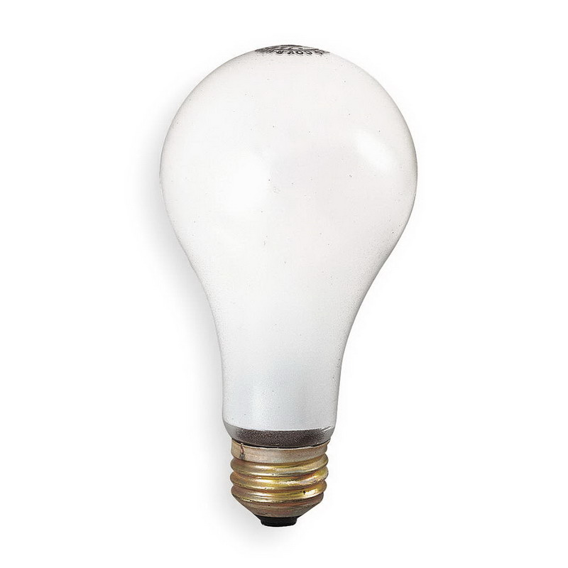 GE Lamps 100A/RS/STG-TP6-130 Saf-T-Gard® A-Line A19 Incandescent Lamp; 100 Watt, 130 Volt, Medium Screw (E26) Base, 2000/5400 Hour Life, Inside Frosted