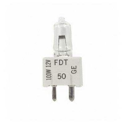 GE Lamps FDT-12 Single-Ended T3 Halogen Lamp; 100 Watt, 12 Volt, 3300K, Oriented Medium Bi-Pin (GZ9.5) Base, 50 Hour Life