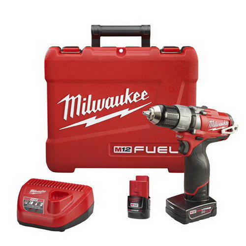 Milwaukee Tool  2403-22 M12 Fuel™ Drill/Driver Kit; 12 Volt, 7.75 Inch Length X 1/2 Inch Chuck, 350 Inch-Lb Torque
