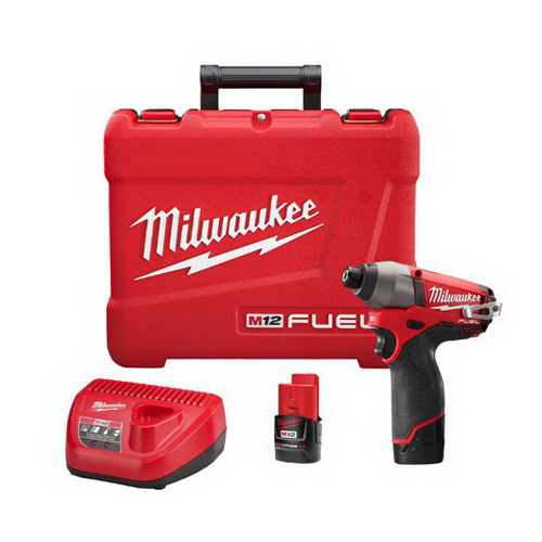 Milwaukee Tool  2453-22 M12 Fuel™ Hex Impact Driver Kit; 12 Volt, 6 Inch Length X 1/4 Inch Drive, 1200 Ft-Lb Torque