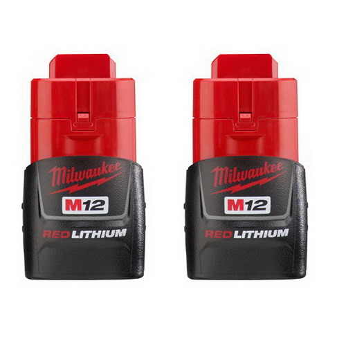 """""Milwaukee Tool  48-11-2411 M12 Red Lithium Compact Battery 12 Volt, Nicd,"""""" 82236"