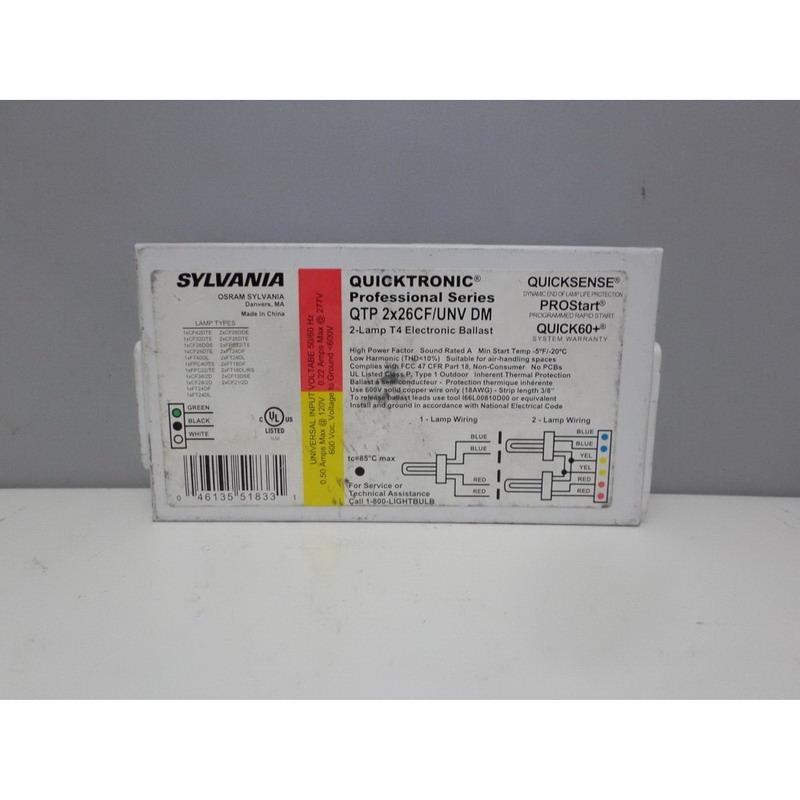 Sylvania QTP-2X26/CF/UNV-DM Quicktronic® Electronic Compact Fluorescent Ballast; 120 - 277 Volt, 28 Watt, 2-Lamp, Programmed Rapid Start
