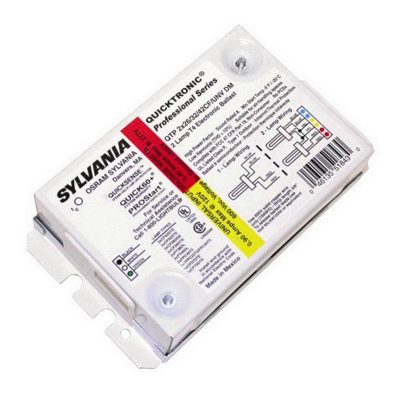 Sylvania QTP2X26/32/42CF/UNV-DM Quicktronic® Electronic Fluorescent Ballast; 120/277 Volt, 54 Watt For 26 (Watt DT/E Lamp), 69 Watt For 32 Watt (DT/E Lamp), 94 Watt For 42 Watt (DT/E Lamp), 2-Lamp, Programmed Rapid Start