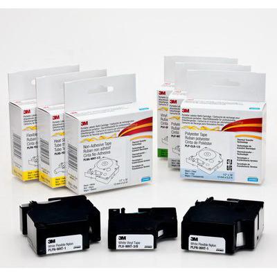3M PLP-WHT-3/8 Portable Labeler Refill Cartridge; 18 ft Roll Length, 0.375 Inch Tape Width, Black/White