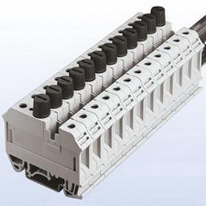 Bussmann F520TOP-GY Screw-Cap Style Terminal Fuse Block; 6.3 Amp, 600 Volt, DIN-Rail Mounting, Gray