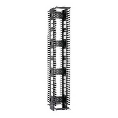 Panduit PEV6 PatchRunner™ High Capacity Double-Sided Cable Manager; Vertical Mount, 45-Rack Unit, Black
