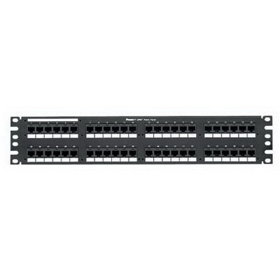 Panduit DP48688TGY Category 6 Punchdown Patch Panel; Rack Mount, 48-Port, 2-Rack Unit, Black