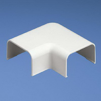 Panduit RAF10EI-X Right Angle Fitting; Snap-On Mounting, 2.500 Inch Length x 2.500 Inch Width x 0.910 Inch Height, Electric Ivory, ABS