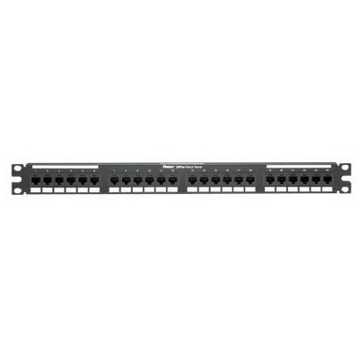 Panduit DP245E88TGY Category 5e Punchdown Patch Panel; Rack Mount, 24-Port, 1-Rack Unit, Black