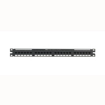 Panduit NK5EPPG24Y NetKey® Category 5e Punchdown Patch Panel; 24-Port, 1-Rack Unit, Black