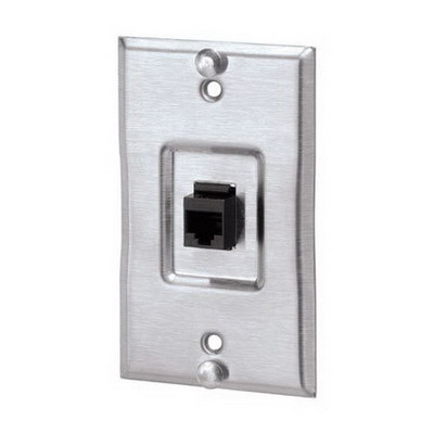 Panduit KWP5EY 1-Gang Keystone Wall Phone Plate With TX-5E; Stainless Steel, Natural