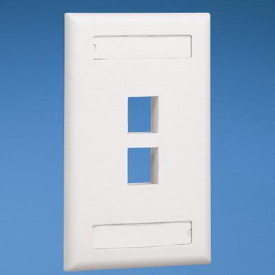 Panduit NK2FEIY NetKey® 1-Gang Flat Faceplate; Screw, (2) UTP, STP, Fiber-Optic, A/V Port, ABS, Electric Ivory