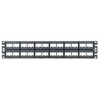 Panduit CPP48WBLY Mini-Com Flat Modular Patch Panel; Rack Mount, 48-Port, 2-Rack Unit, Black
