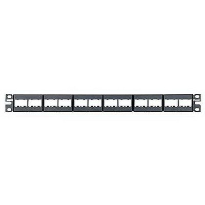 Panduit CPP24WBLY Mini-Com Flat Modular Patch Panel; Rack Mount, 24-Port, 1-Rack Unit, Black