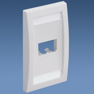 Panduit CFPE2IWY Mini-Com® 1-Gang Flat Faceplate; (2) UTP, STP, Fiber-Optic, A/V Port, ABS, Off White