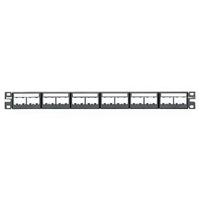 Panduit CPPL24WBLY Mini-Com Flat Modular Patch Panel; Rack Mount, 24-Port, 1-Rack Unit, Black