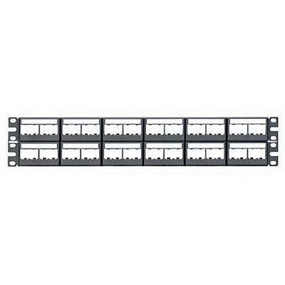 Panduit CPPL48WBLY Mini-Com Flat Modular Patch Panel; Rack Mount, 48-Port, 2-Rack Unit, Black