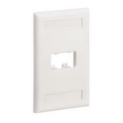 Panduit CFPL2EIY Mini-Com® 1-Gang Flat Faceplate; Screw, (2) UTP, STP, Fiber-Optic, A/V Port, ABS, Electric Ivory