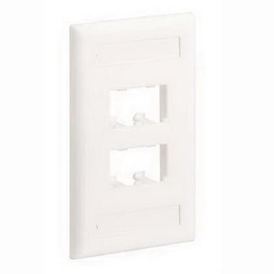 Panduit CFPL4EIY Mini-Com® 1-Gang Flat Faceplate; Screw, (4) UTP, STP, Fiber-Optic, A/V Port, ABS, Electric Ivory