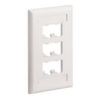 Panduit CFPL6EIY Mini-Com® 1-Gang Flat Faceplate; Screw, (6) UTP, STP, Fiber-Optic, A/V Port, ABS, Electric Ivory