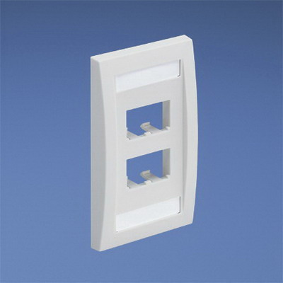 Panduit CFPE4EIY Mini-Com® 1-Gang Flat Faceplate; (4) UTP, STP, Fiber-Optic, A/V Port, ABS, Electric Ivory