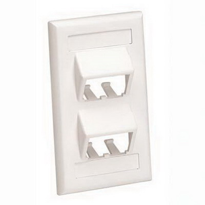 Panduit CFPSL4EIY Mini-Com® 1-Gang Sloped Faceplate; Screw, (4) UTP, STP, Fiber-Optic, A/V Port, ABS, Electric Ivory