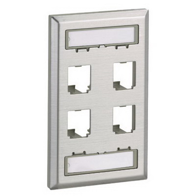 Panduit CFPL4SY Mini-Com® 1-Gang Faceplate; Screw, (4) UTP, STP, Fiber-Optic, A/V Port, Stainless Steel
