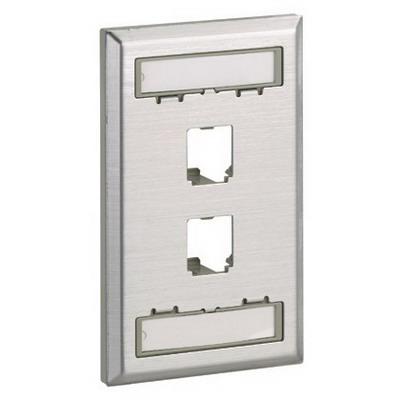 Panduit CFPL2SY Mini-Com® 1-Gang Flat Faceplate; Screw, (4) UTP, STP, Fiber-Optic, A/V Port, Plastic, Off White