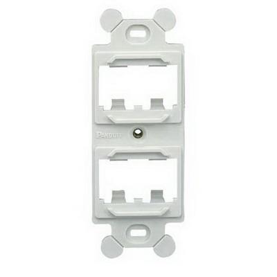 Panduit CF1064EIY Mini-Com® Module Frame; Screw, (4) UTP, STP, Fiber-Optic, A/V Port, Plastic, Electric Ivory