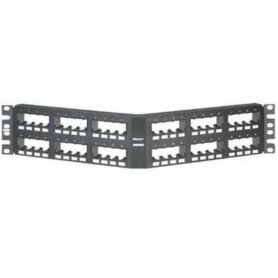 Panduit CPPA48FMWBLY Mini-Com Angled Modular Patch Panel; Flush Mount, 48-Port, 2-Rack Unit, Black