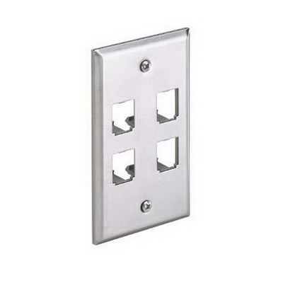 Panduit CFP4SY Mini-Com® 1-Gang Flat Faceplate; (4) UTP, STP, Fiber-Optic, A/V Port, Stainless Steel