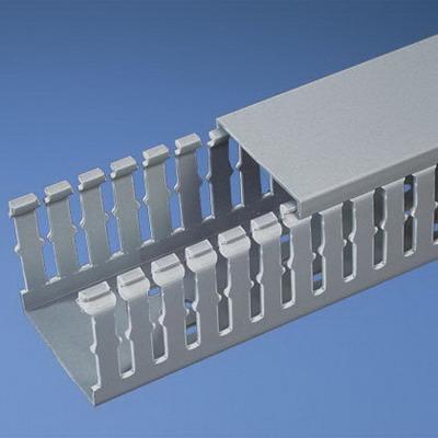 Panduit F3X3LG6 Panduct® Base Narrow Slot Wiring Duct; 6 ft Length x 3.250 Inch Width x 3.120 Inch Height, Lead Free PVC, Light Gray