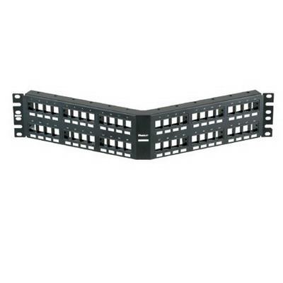 Panduit NKPPA48FMY NetKey® Angled Modular Patch Panel; 48-Port, 2-Rack Unit, Black